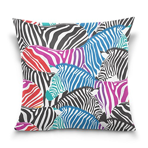 ALAZA Colorful Zebra Pillowcase for Living Room Sofa Car Decorative Cotton Linen Throw Pillow Case Cushion Cover Square 20 X 20 Inches