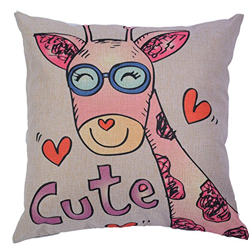 FINNEL 18x18 inches Square Throw Pillow Cover Cotton Linen Blend Cute Pink Deer Decorative Pillowcases Cushion Cover