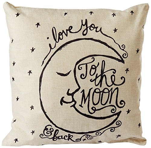 I Love You to the Moon and Back Cotton Throw Pillow Case Vintage Cushion Cover 18 x 18