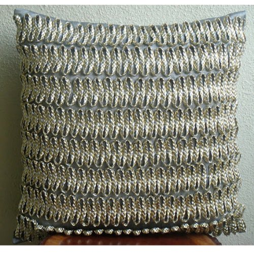 Handmade Silver Throw Pillow Covers 3D Metallic Cord Throw Pillows Cover 16x16 Pillows Cover Square Faux Leather Pillowcase Contemporary Pillow Cases - Silver and Gold Twists