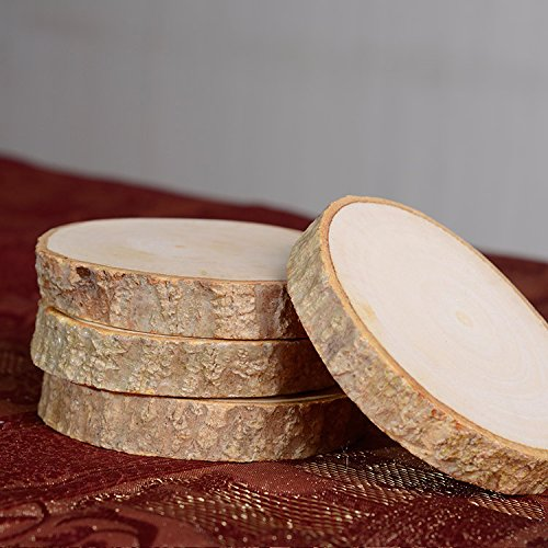 Natural Wood Coasters Set - Real Wood Slices - Coated in Polyurethane for Surface Protection While Adding an Authentic Rustic Feel to Your Home - Set of 6