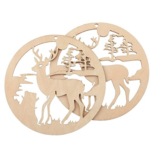 Christmas Wooden Ornaments Round Wooden Hollow Deer Design Christmas Hanging Deer Decorations 5pcs