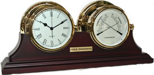 Brass Ships Clock with Matching Thermometer Hygrometer with stand