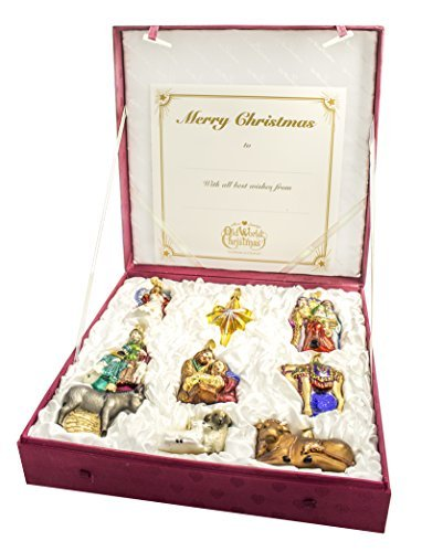 Old World Christmas 9-Piece Nativity Ornament Collection Standard