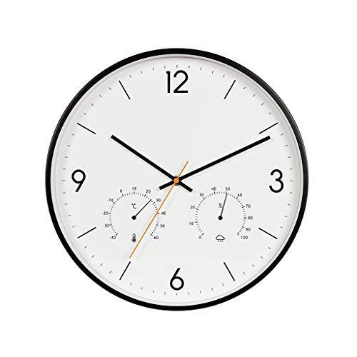 Beauty Brand Battery Operated Silent Non-Ticking Indoor Wall Clock with Temperature Humidity Glass Cover Color  Black