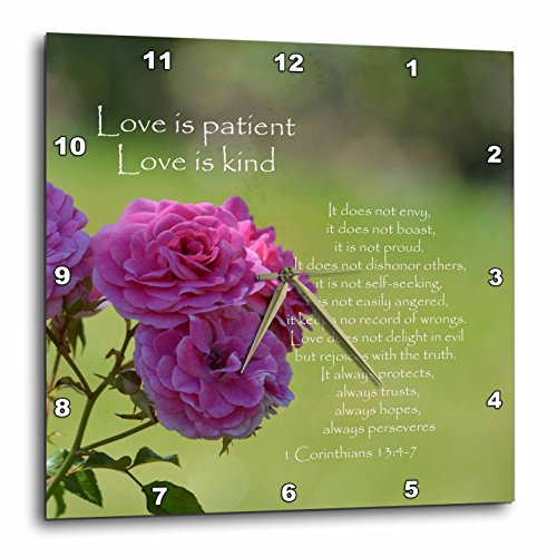 3dRose dpp_110502_3 Pretty Pink Roses Love is Patient Bible Verse-Inspirational-Wall Clock 15 by 15-Inch