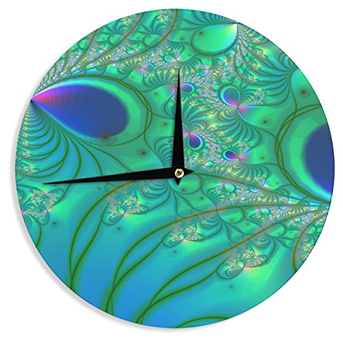 Kess InHouse Alison Coxon Fractal Turquoise Wall Clock 12