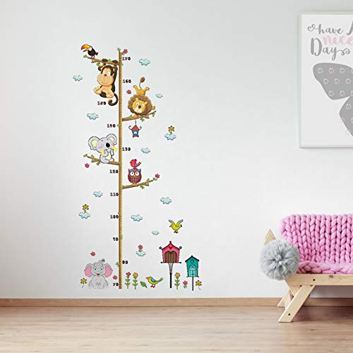 Baby Growth Chart Decals Ruler Cute Cartoon Elephant Lion DIY Height Growth Chart Wall Sticker Decor for Baby Nursery RoomPeel and Stick Removable