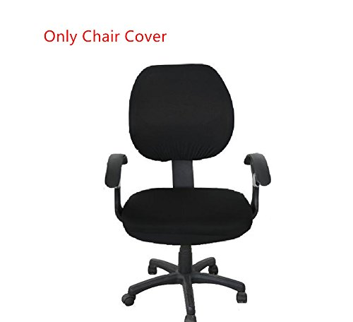 Pure Color Polyester Rotating Chair Cover Doptou Universal Computer Office Stretch Chair Slipcover Machine Washable Chair Protector Cover Black