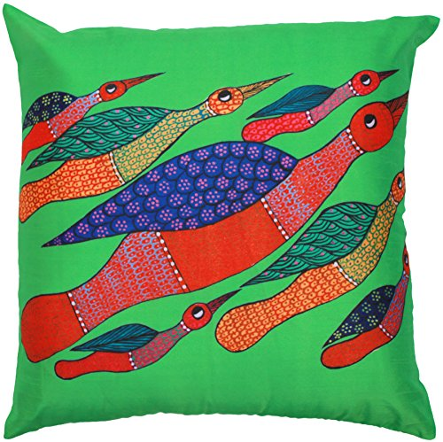 SouvNear Throw Pillow Cover 18x18 Birds 100 Handmade Green Cushion Cover with Zipper Modern Art Throw Pillows Case for Sofa Bed Couch Rocking Chair