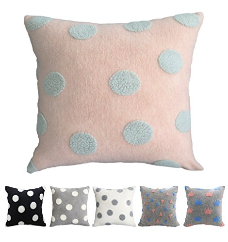 Kdays Boucle Dot Pink Pillow Cover Throw Pillow Cover Kids Pillow Decorative Cushion Cover Kidsroom Décor 22x22 Inches