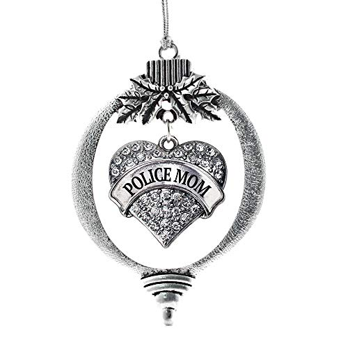 Inspired Silver - Police Mom Charm Ornament - Silver Pave Heart Charm Holiday Ornaments with Cubic Zirconia Jewelry