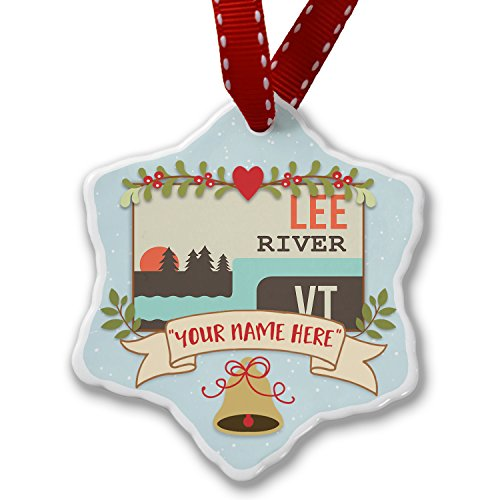 Add Your Own Custom Name USA Rivers Lee River - Vermont Christmas Ornament NEONBLOND
