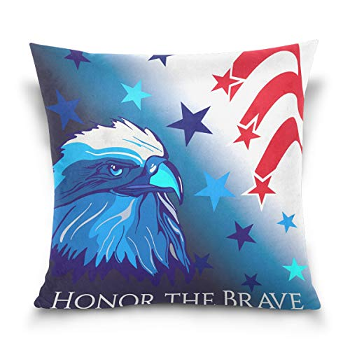 Dallonan Double Sided Blue Bald Eagle Red Stars Striped Cotton Velvet Square Cover Cushion Covers 16 x 16 Inch Pillow Slip Covers Decorative