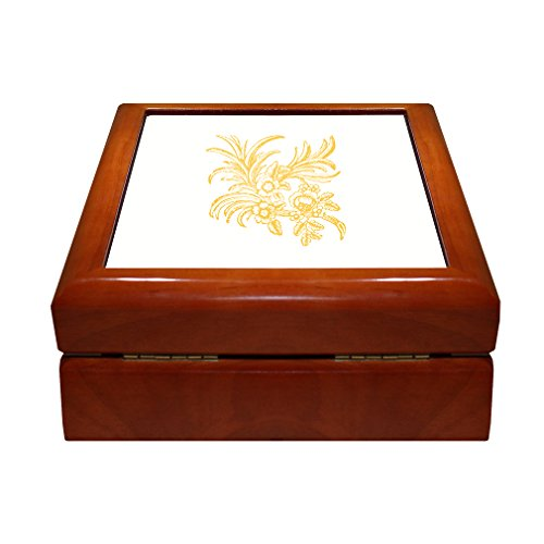 Yellow Ornaments Vintage Look 4 x 4 Jewelry Box with Ceramic Tile Lid Insert Golden Oak