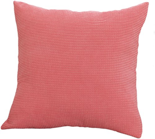 Keynis Throw Pillow Cover Comfortable Soft Corduroy Striped 17x17 Pink