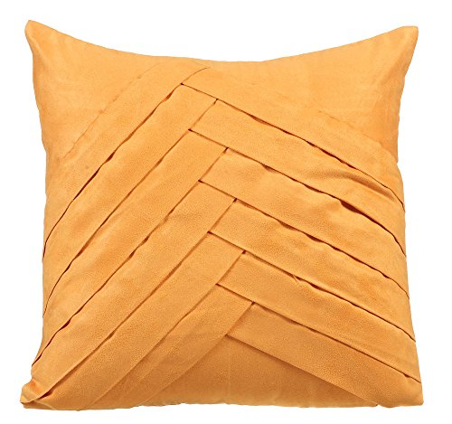 Mustard Pillows Cover 18x18 Inch Throw Pillows Cover Faux Suede Decorative Pillows Cover Textured Pintucks Solid Color Pillow Cover Solid Throw Pillow Covers - Mustard No Limits No Lines