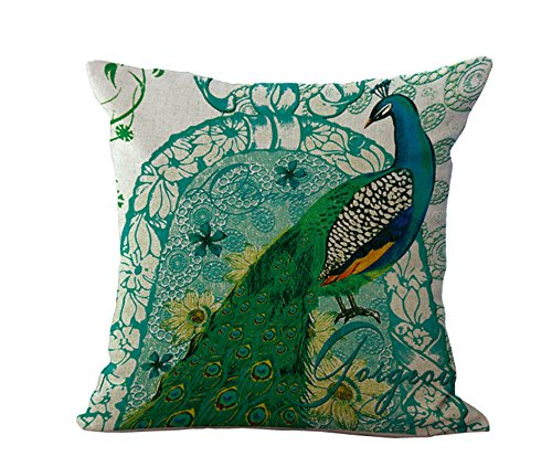 Loool Elegant Emerald Green Peacock Home Decorative 18 By 18 Inch Cotton Linen Throw Pillow Case Cushion Cover Pillowcase  Pillow Sham