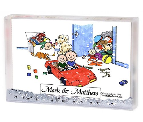Personalized Friendly Folks Cartoon Snow Globe Frame Gift Brothers Great for brothers friends cousins