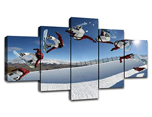 MIAUEN Snowboarding Wall Art Skiing Canvas Prints Sport Wall Decor 5 Piece Picture Home Decoration Poster with Frame Painting Ready to Hang60Wx32H