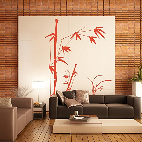 Bamboo Wall Decals Wall Stickers Kids decal - Bamboo with Grass Vinyl Mural 64H X 44W