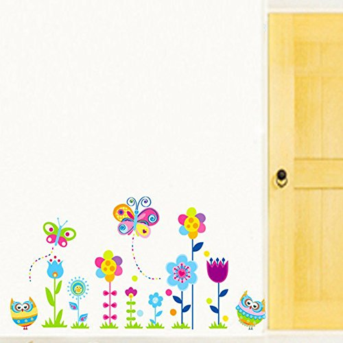 Delight eShop Owl Wall Stickers Child Room Decoration Animal Decals Removable Flower Butterfly