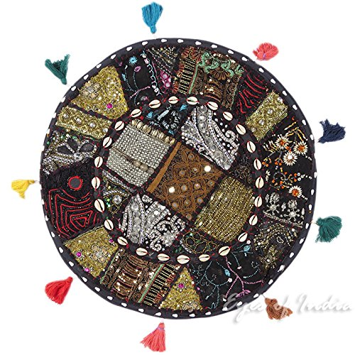 EYES OF INDIA - 17 Black Patchwork Floor Pillow Seating Throw Cover Indian Bohemian Boho Decora