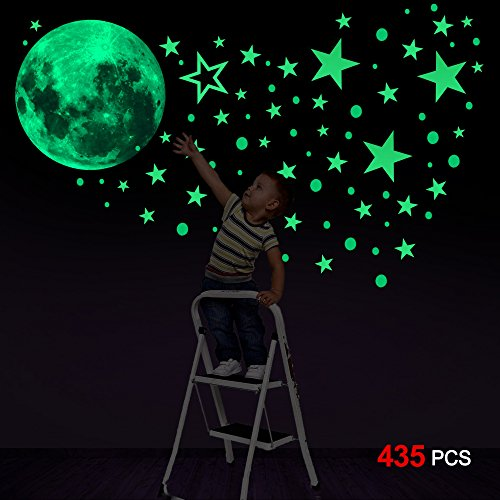 Glow In The Dark Stickers435pcs Konsait Luminous Moon Dots Stars Wall Ceiling Decal Murals for Nursery Baby Girl Boy Kids or Relaxing Ambience for Adults Home Bedroom Living Room Decoration
