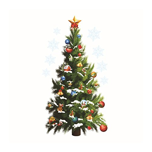 WINOMO Merry Christmas Tree Wall Stickers Home Decor PVC Wall Murals Removable Art Wall Decals for Home Decoration