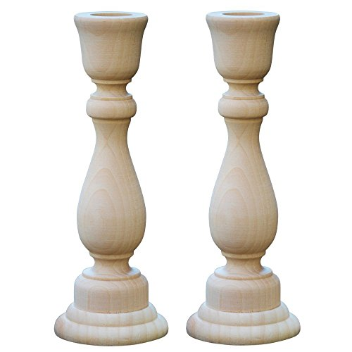 Woodpeckers Unfinished Candlesticks 6-34 Inch Unfinished Wooden Candlestick Holder - Bag of 2