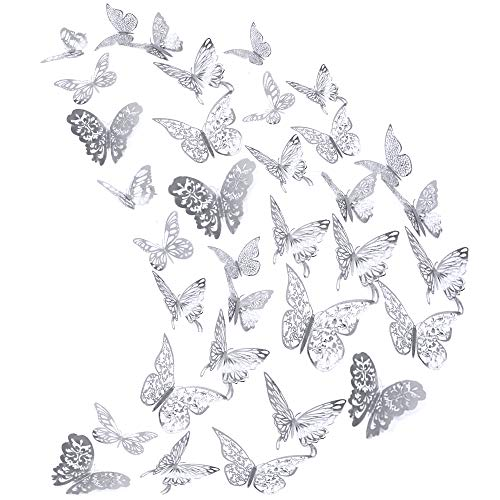 AUHOKY 84Pcs Butterfly Wall Decals Sticker Decorations - 3D Metallic Hollow-Out Removable Mural DIY Home Decor for Kids Bedroom Living Room Party Wedding - Vivid Attractive Silver