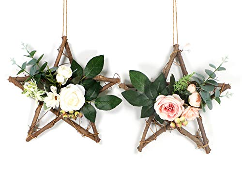 HEBE Floral Hoop Wreath Set of 2 Artificial Wooden Star Base Rose Flower and Eucalyptus Vine Garland Wreath for Wedding Backdrop Window Wall Decor