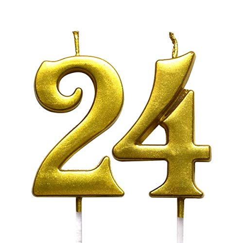 MAGJUCHE Gold 24th Birthday Numeral Candle Number 24 Cake Topper Candles Party Decoration for Women or Men