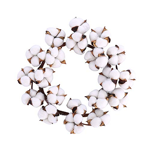 12 Cotton Wreath Mini Small Wreath Full Nature White Cotton Bolls for Bedroom Wall Window Home Office Housewarming Gift and Easter Christmas Wedding Decor