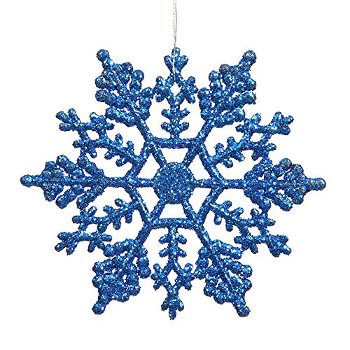 "HKBAYI 24pcs 10cm  4"" Plastic Glitter Snow Snowflakes Hanging Ornaments Christmas Party Home Decorations Dark blue"
