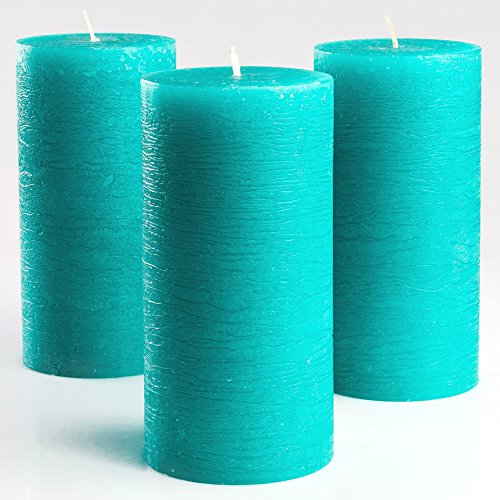 TurquoiseTeal Unscented Pillar Candles 3 x 6 Inch Set of 3 Fragrance-Free for Weddings Decoration Restaurant Spa Smokeless Cotton Wick by Melt Candle Company