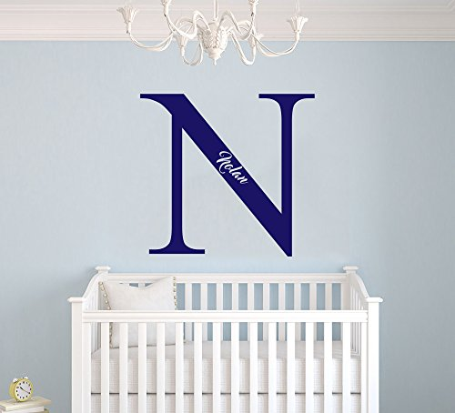Custom Name Initial - Embedded Name - Baby Boy Girl Unisex Decoration - Mural Wall Decal Sticker For Home Interior Decoration Car Laptop AM Wide 14 x 13 Height