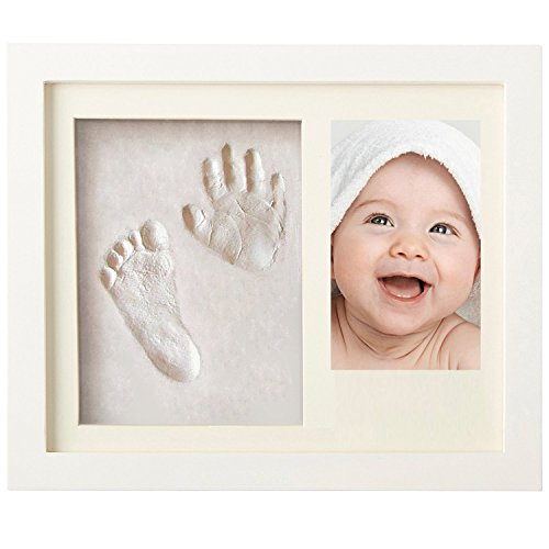 Newborn Baby Handprint and Footprint Picture Frame Kit for Boys and Girls Baby Shower Gift for Registry Memorable Keepsakes Decorations for Room Wall or Table Decor Wood Frames with Premium Clay