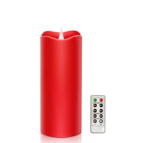 Remote Control 3D Moving Flame Led Candle with Timer Battery Operated Candle for Home and Christmas Decoration 3x7 Inch Red