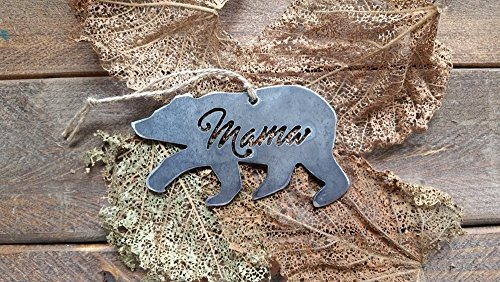 Mama Bear Rustic Metal Recycled Steel Christmas Tree Ornament Holiday Gift Industrial Decor