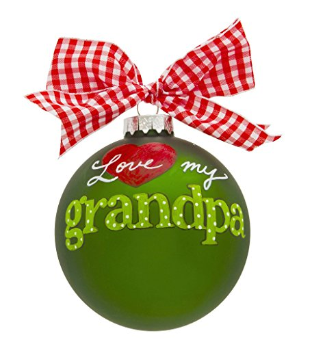 VINTAGE HANDPAINTED GLASS CHRISTMAS BULB ORNAMENT BALL FAMILY GRANDCHILDREN GRANDKIDS I LOVE YOU GRANDPA