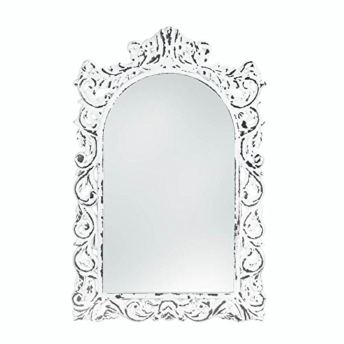 Mirror Wall Rustic Contemporary Framed Square Etched White Ornate Wall Mirror