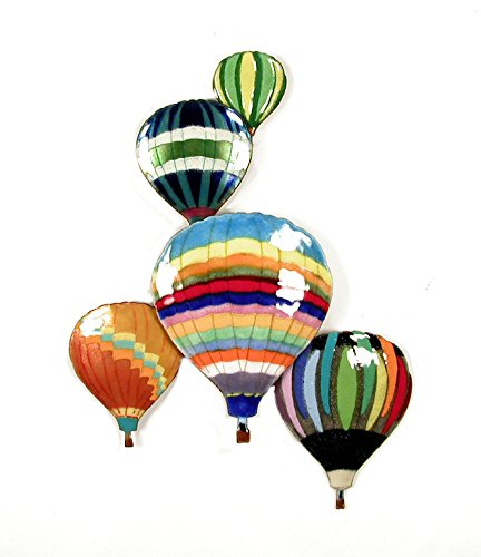 Hot Air 5 Balloons In Flight Enamel Glass Copper Metal Wall Art Large Metal Wall Art in Modern Festival Design 3D Wall Art for Modern and Contemporary Décor 10x 13