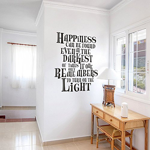 MairGwall Positive Quote Sticker Happiness Can Be FoundLiving Room Wall Decal Removable Wall Vinyl Black Medium