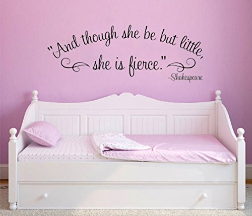 William Shakespeare Though she be but little she is fierce Quote Removable Vinyl Wall Art Decal sticker