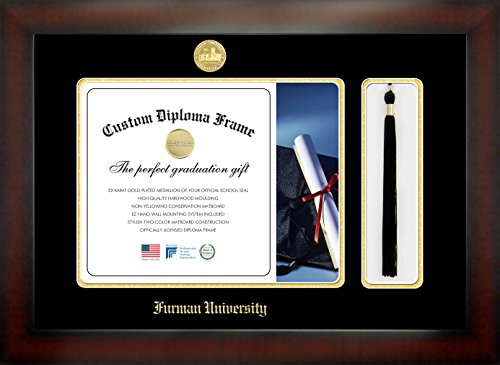Furman University 11 x 14 Mahogany Finish Infinity Diploma Frame with Tassel Box by Celebration Frames