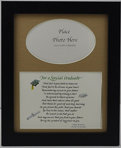 For a Special Graduate Picture Frame with Poem Choose Your Frame and Mat Color 8x10 Black Frame Burlap Mat