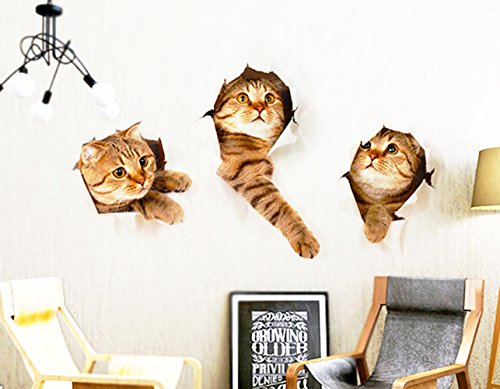 3D Wall Decals Stickers Vivid Decors Murals Cat for Room Home Removable Wall Art Decals Wall for kids Rooms DIY Home Decoration Cat