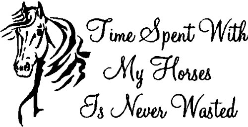 Time Spent With My Horses Is Never WastedHorse Wall Decal Quote Words Removable Horse Wall Sticker Lettering Black