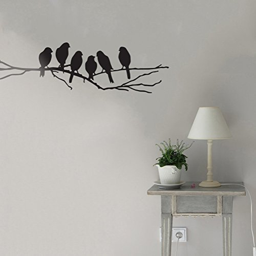 Ideaowl bird tree branch wall sticker Six Birds On The Tree Branch Wall Art Decor Removable PVC Home Decals Stickers 177x59Black